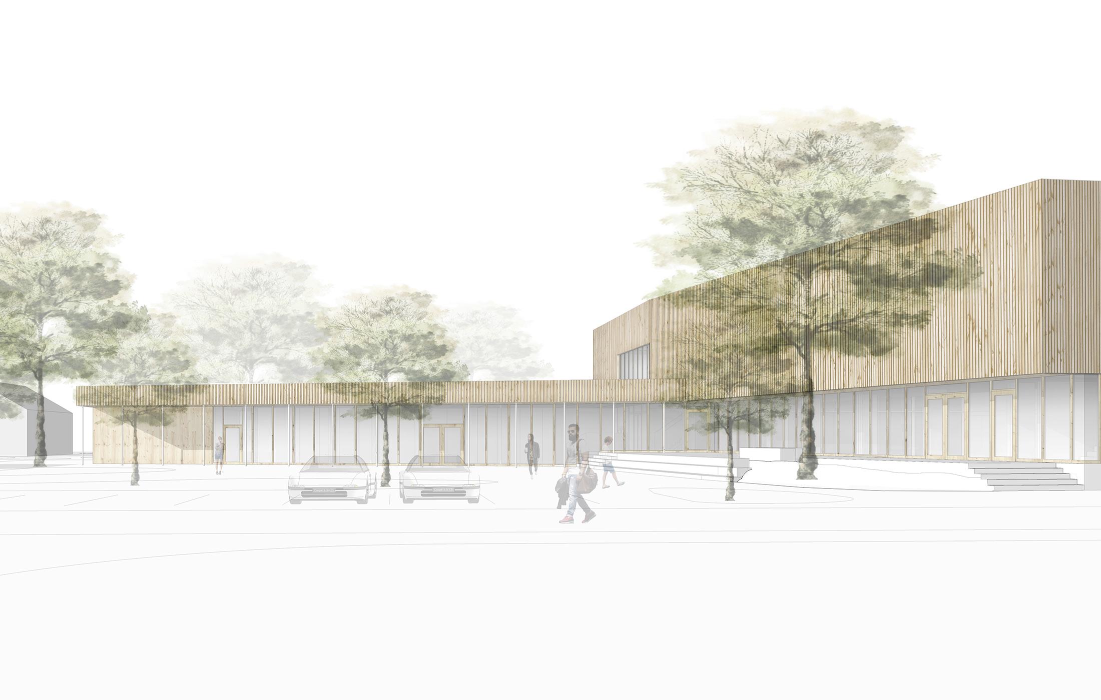 """2018, Neubau Mehrzweckhalle """"Lindenhalle"""", Gerstetten"""