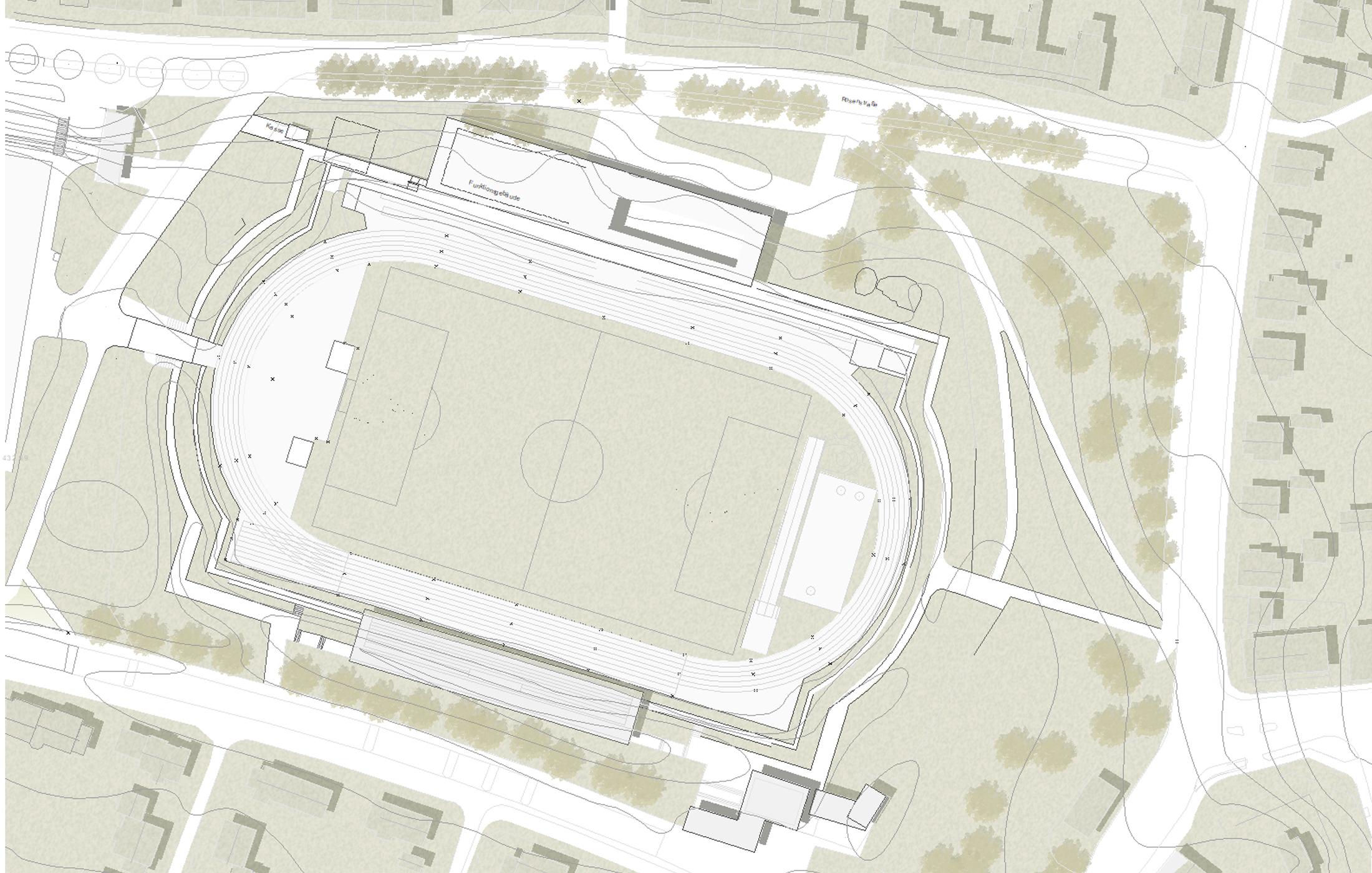 2018, Wettbewerbsbetreuung Neubau eines Funktionsgebäudes und Kassenbox am Floschenstadion, Sindelfingen