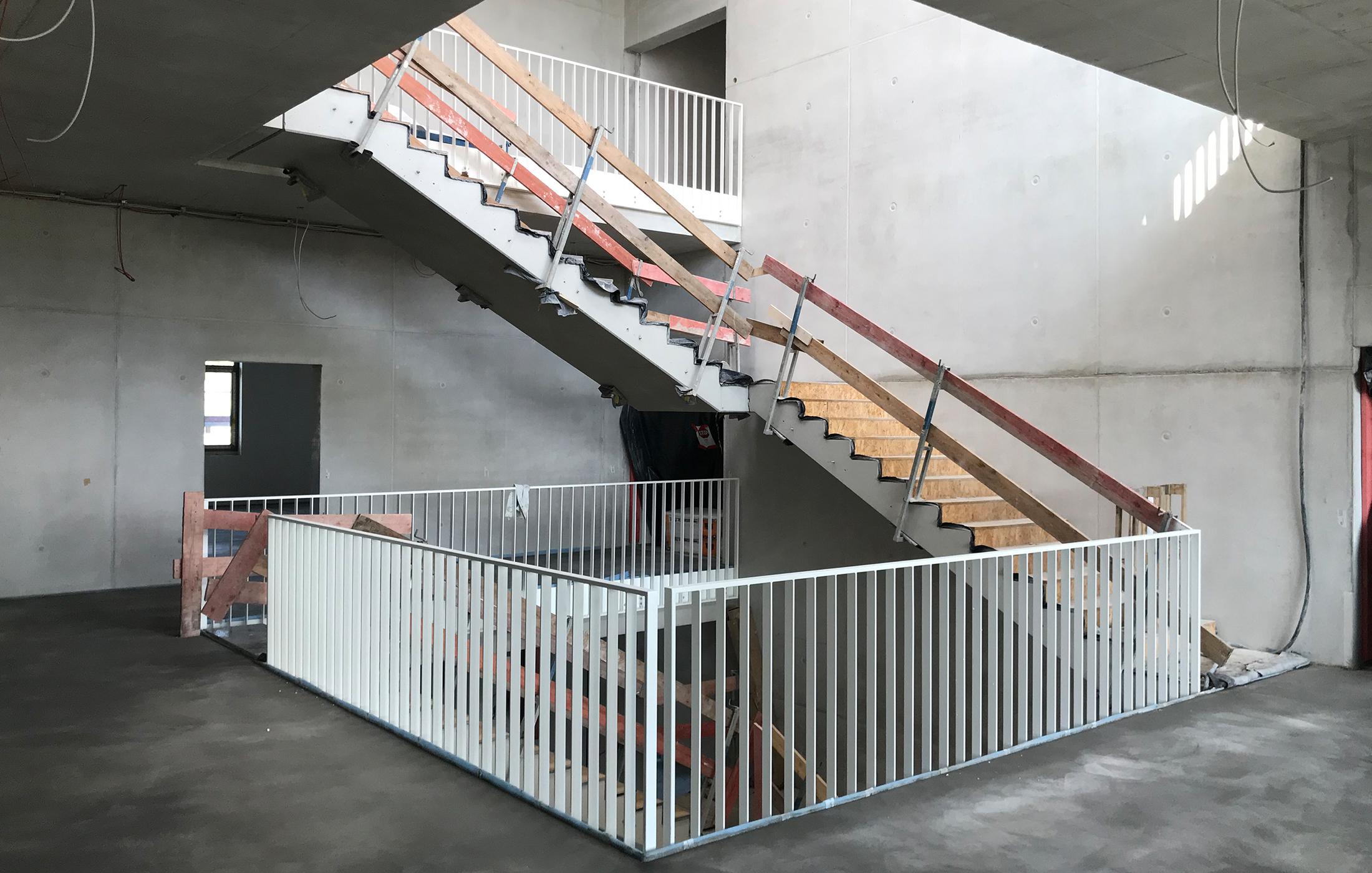 BFW Neubau Geschäftsstelle Stuttgart in Renningen, Baustelle Treppenhaus