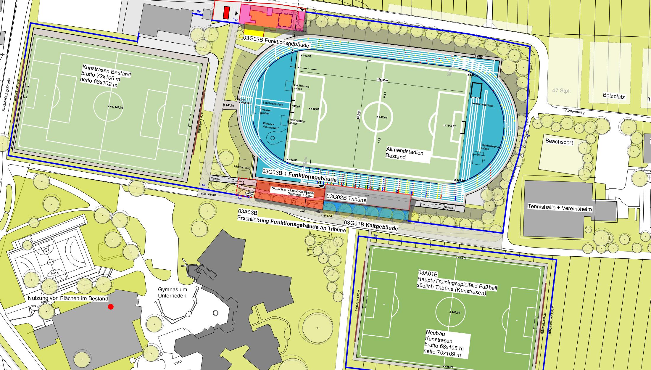 2021, Neubau Funktionsgebäude, Neubau Kassenbox und Kaltgebäude, Sanierung Tribüne Allmendstadion, Sindelfingen